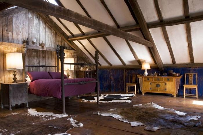 chambre mansardée lit en fer