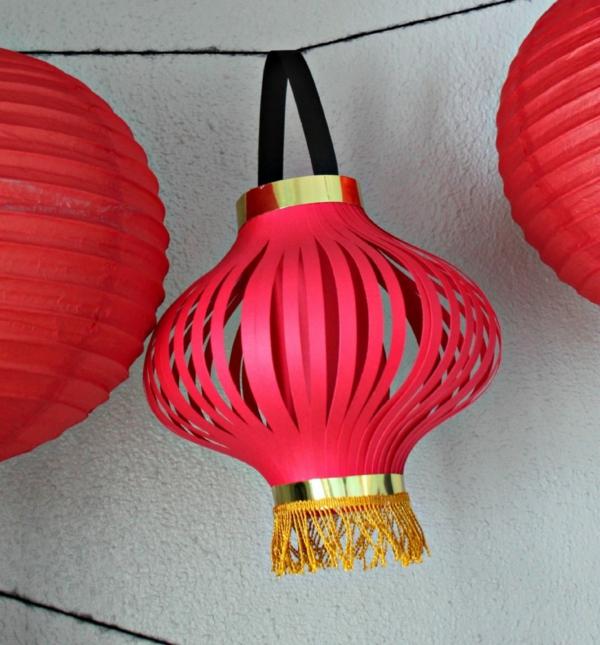 diy lanterne chinoise en papier rouge