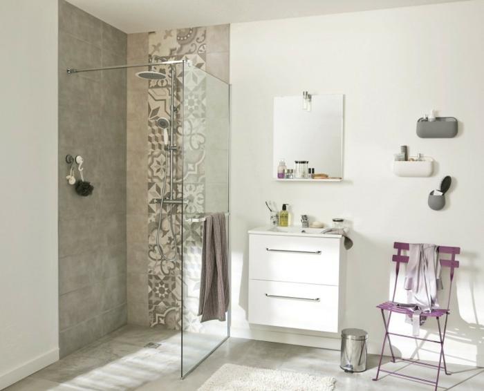 douche à l'italienne carreaux de ciment