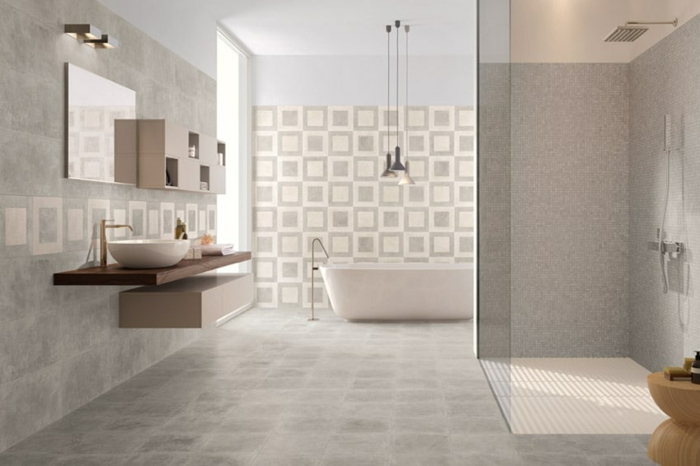 douche à l'italienne carrelage carreaux ciment salle de bains
