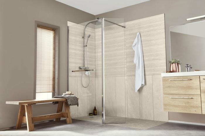 douche à l'italienne salle de bains paroi en angle