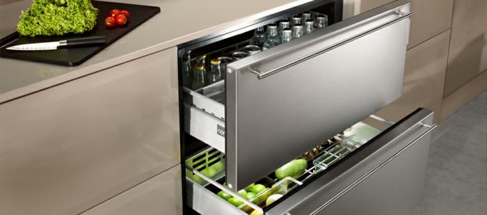 frigo intégré sous plan de travail aménagement petite cuisine