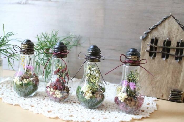 idée diy décoration de table avec des ampoules électriques