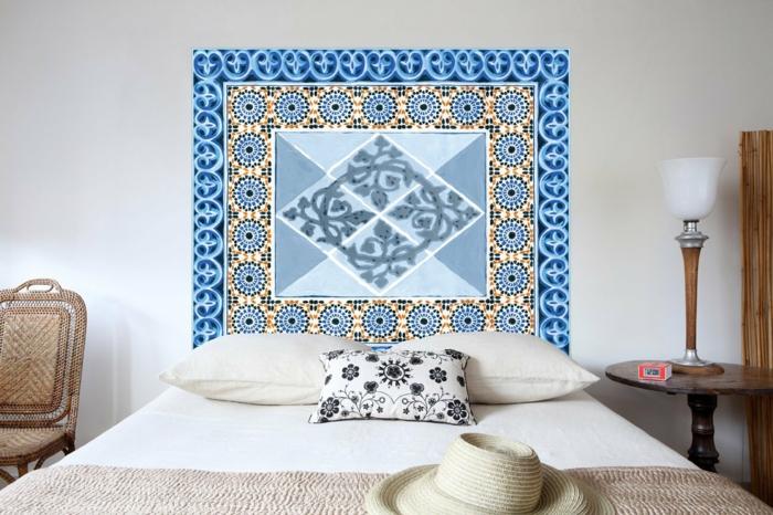idée fabriquer une tête de lit avec du papier peint