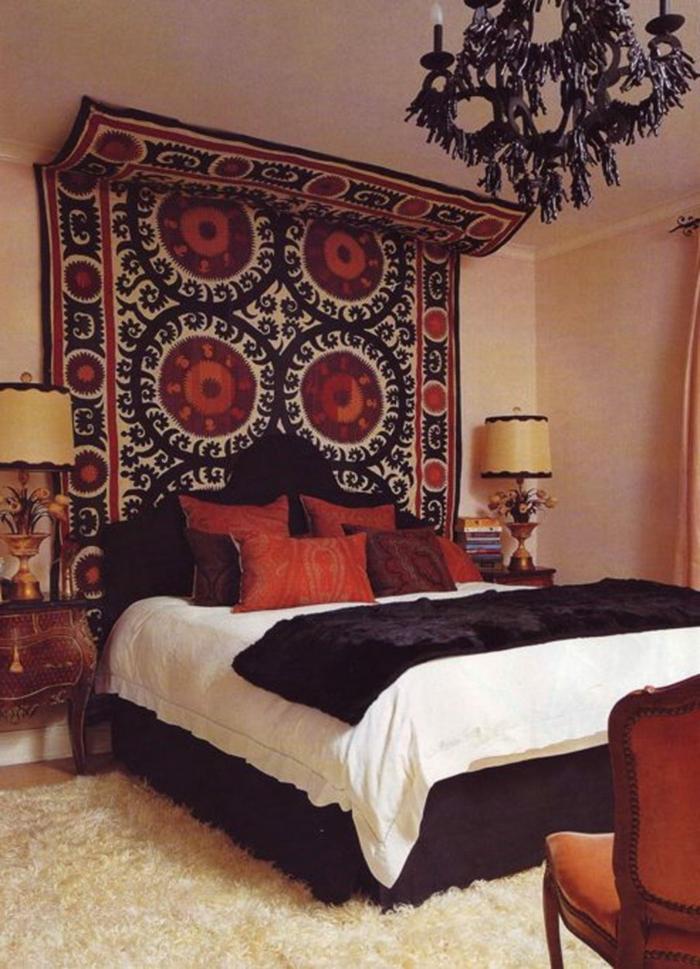 idée fabriquer une tête de lit avec un tapis