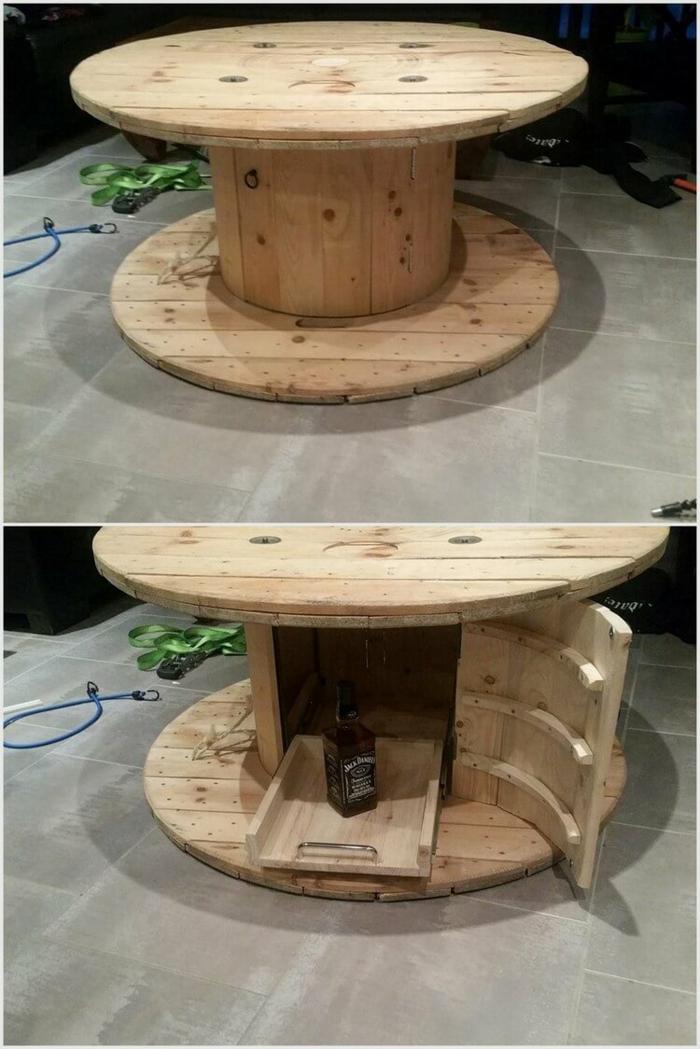 idée originale de table de touret bois