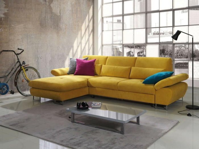 idées déco salon canapé en jaune