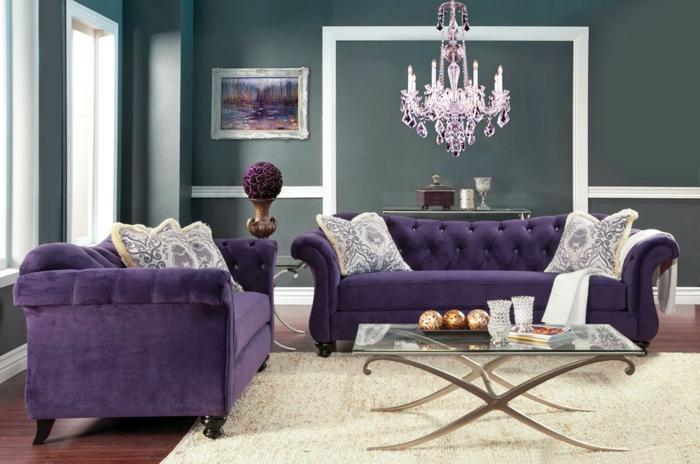 idées déco salon couleur ultra violet
