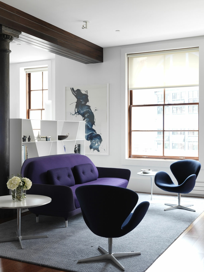 idées déco salon en violet