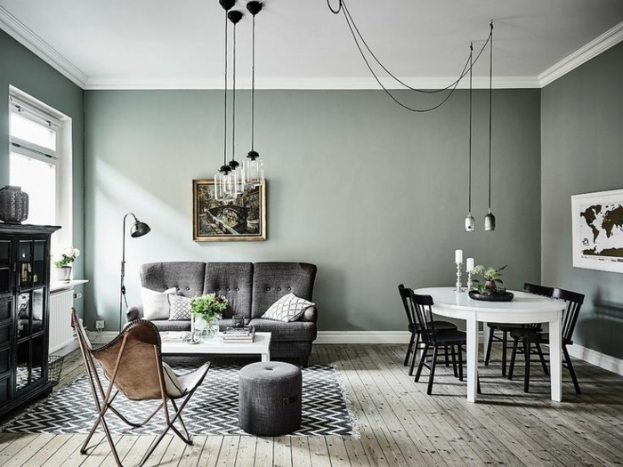 intérieur scandinave couleur de peinture tendance 2018 vert ficus