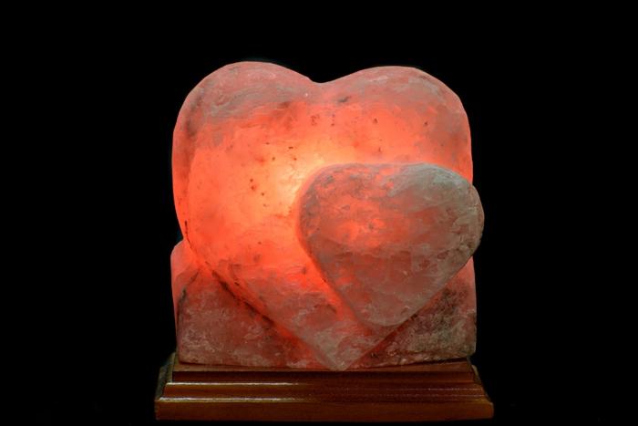 lampe cristal de sel forme de coeur