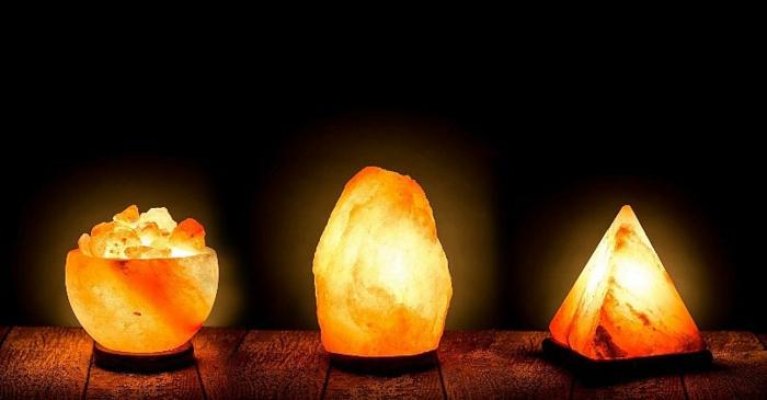 lampe cristal de sel forme variée