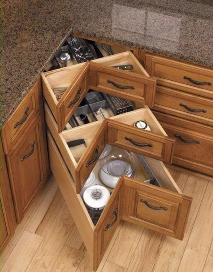 meuble d'angle aménagement petite cuisine