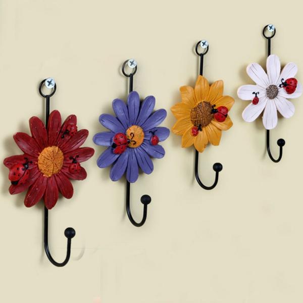 patère design fleur crochet métallique