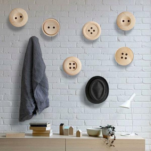 patère design grand bouton en bois