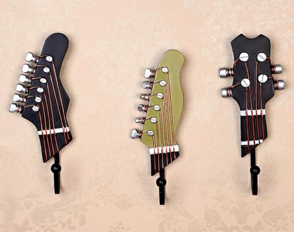 patère design guitare crochet en métal