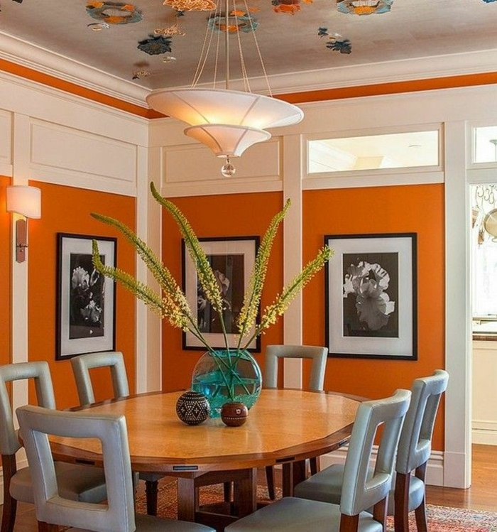 salle à manger orange terreuse couleur de peinture tendance 2018