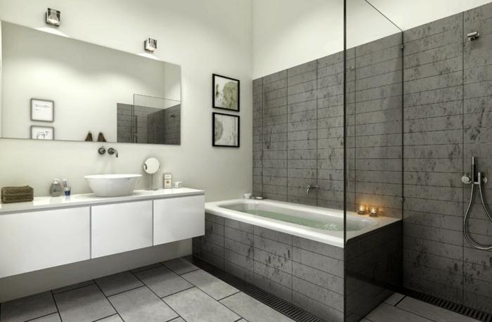 salle de bains baignoire douche à l'italienne