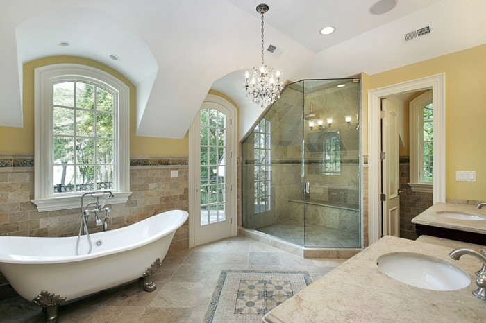 salle de bains cabine de douche carrelage travertin