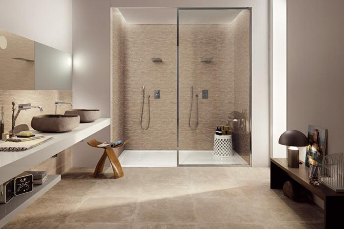 salle de bains carrelage nature douche à l'italienne
