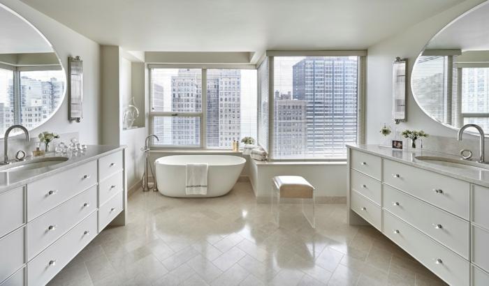 salle de bains carrelage travertin blanc