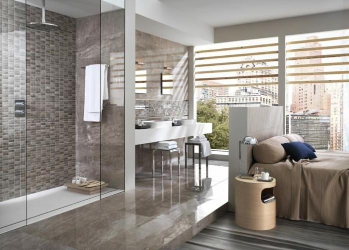 salle de bains dans la chambre douche à l'italienne