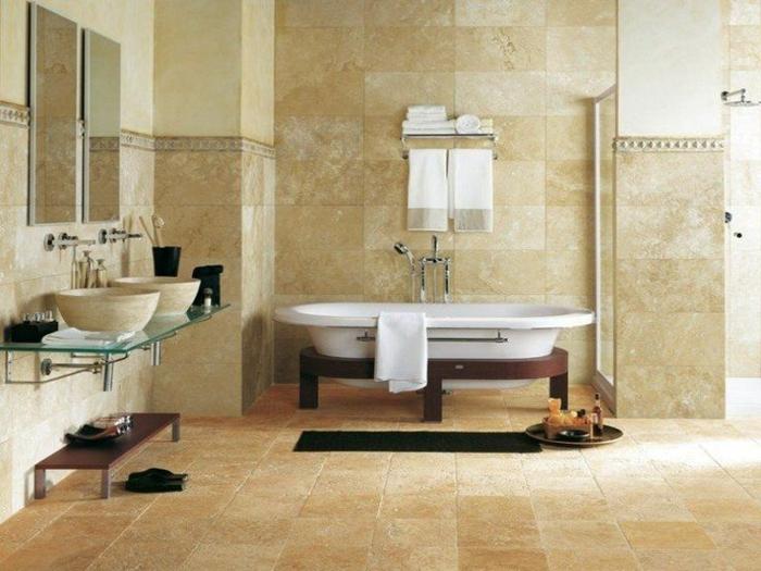salle de bains deux vasques à poser carrelage travertin
