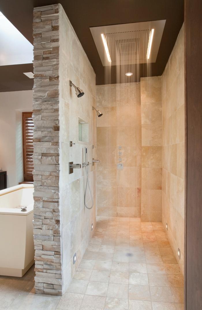 salle de bains douche double carrelage travertin