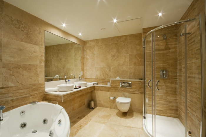 salle de bains moderne carrelage travertin