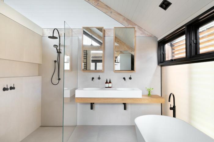 salle de bains scandinave douche à l'italienne avec paroi en verre