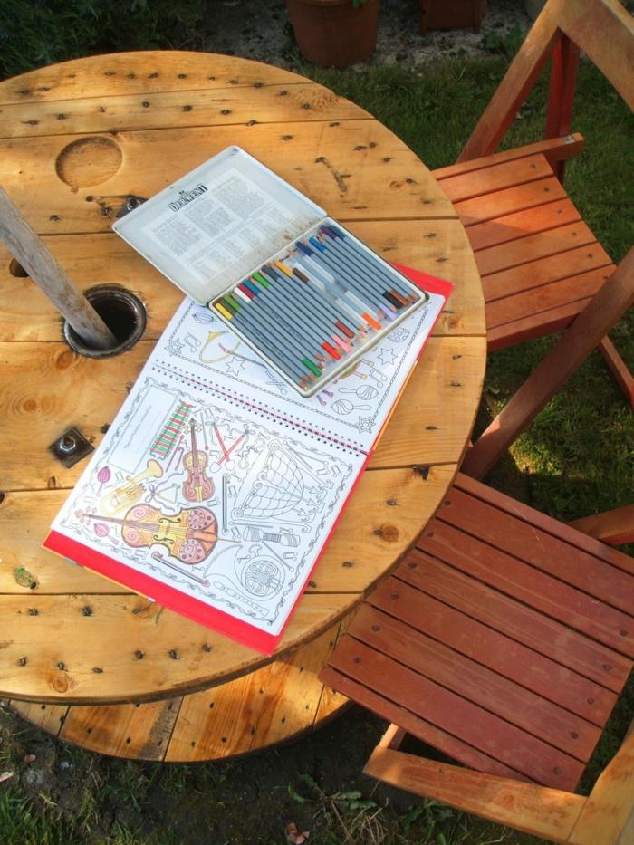 table jardin diy de touret bois