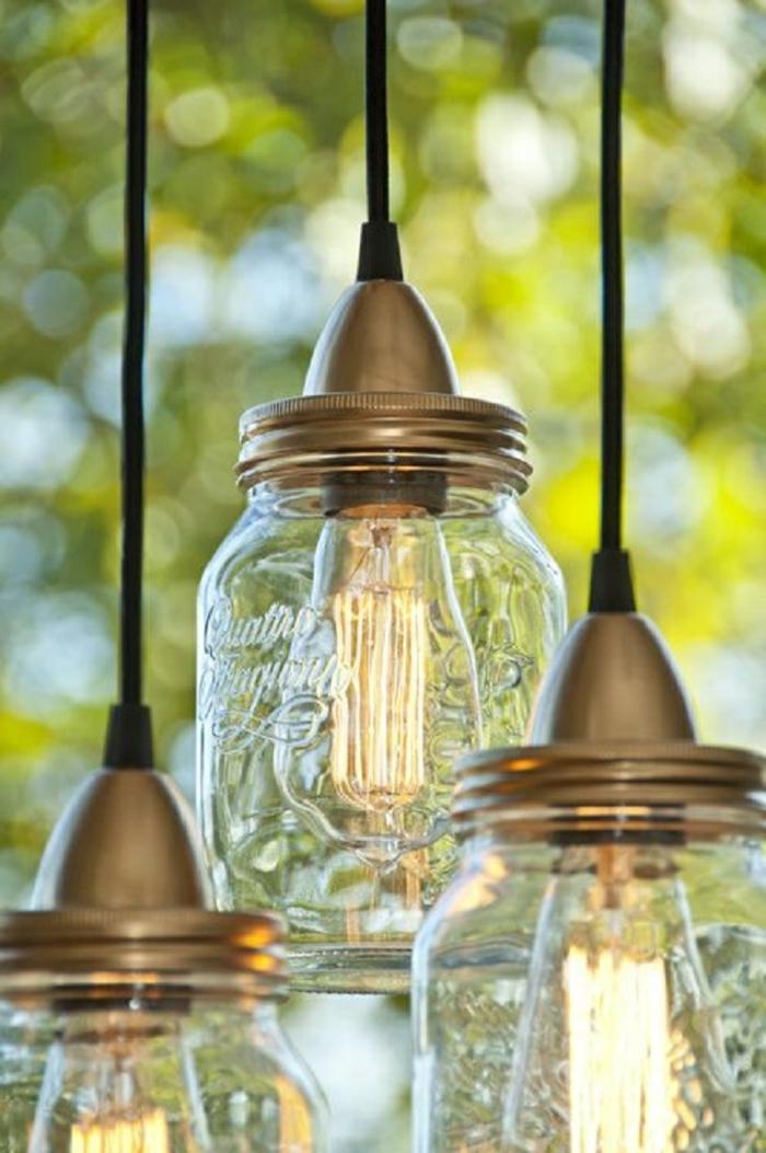 bocaux verre luminaire fait maison