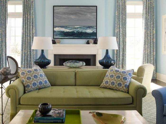 canapé en couleur sauge salon tendance