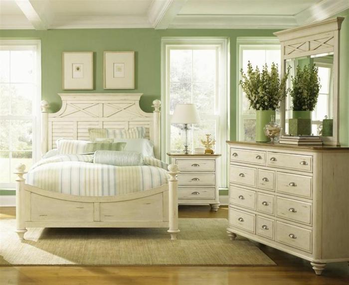chambre à coucher accents en couleur sauge