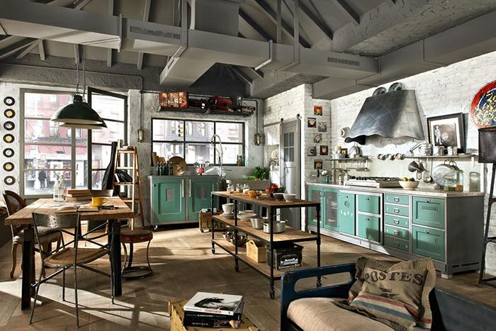 cuisine style industriel accents en vert