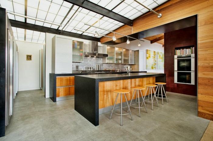 cuisine style industriel bois clair sol carreaux de ciment