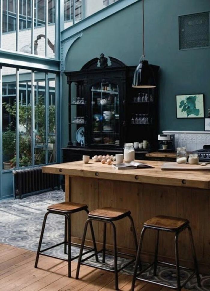 cuisine style industriel couleur bleu canard