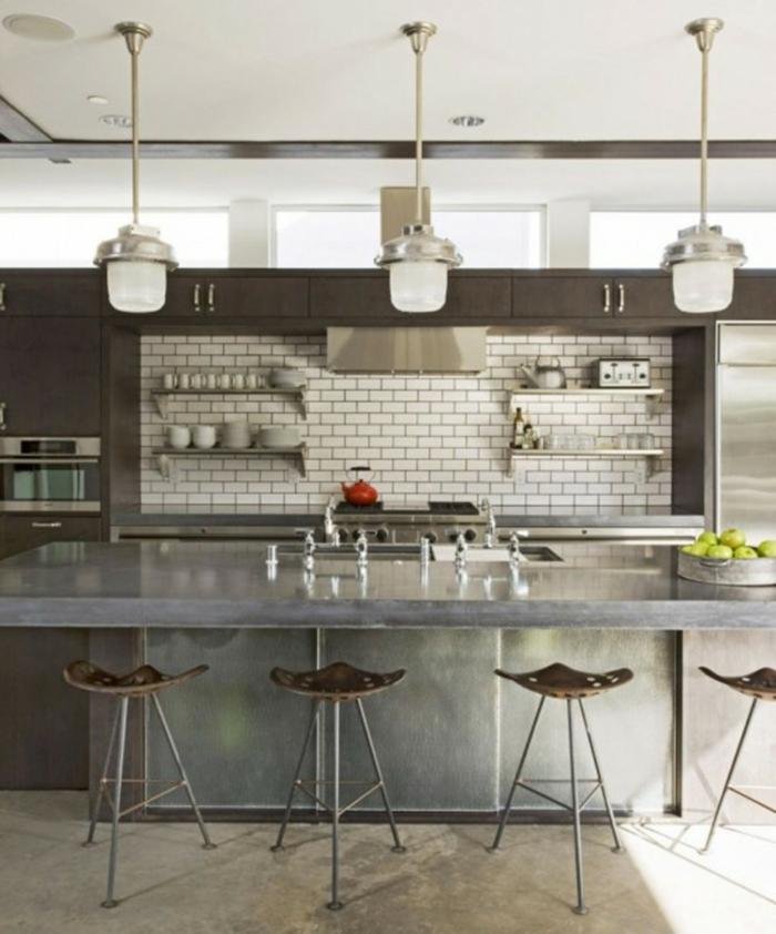 cuisine style industriel crédence en briques