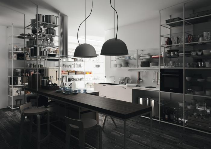 cuisine style industriel en nois étagères ouvertes