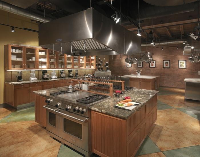 cuisine style industriel hotte pour îlot central plan de travail en marbre