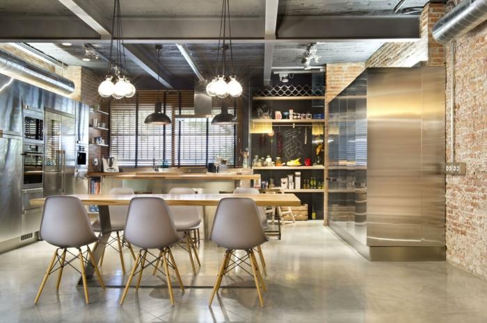 cuisine style industriel inox bois briques