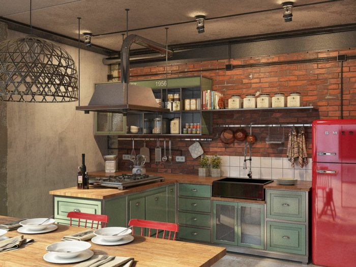 cuisine style industriel loft accents en vert et rouge