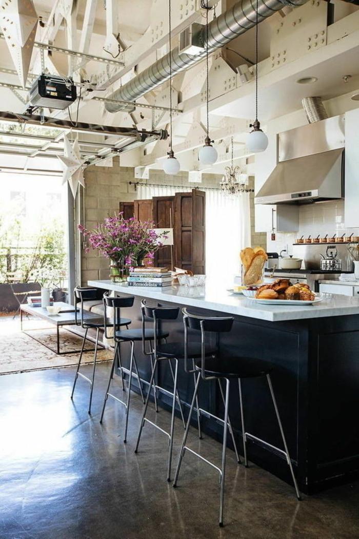 cuisine style industriel loft plan de travail marbre