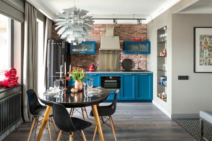cuisine style industriel meubles de cuisine en bleu azur