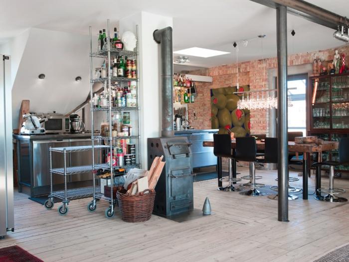 cuisine style industriel mobilier acier mur briques