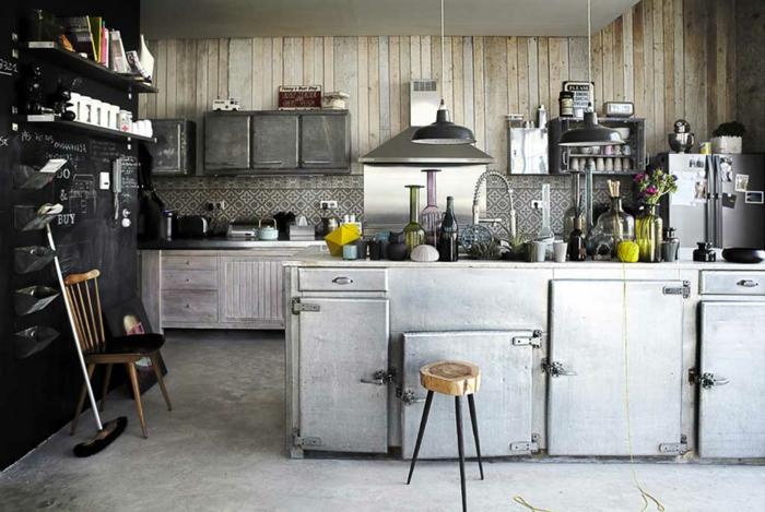 cuisine style industriel mobilier acier rétro