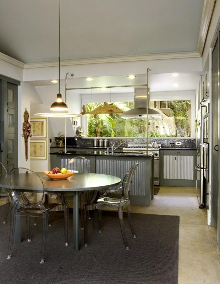 cuisine style industriel mobilier bois gris et inox