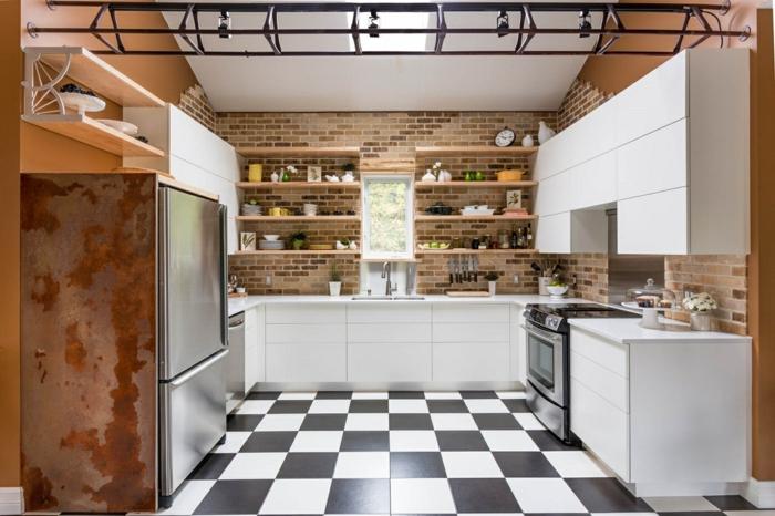 cuisine style industriel moderne sol carreaux de ciment