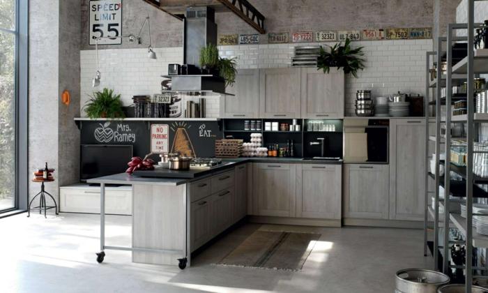 cuisine style industriel murs carreaux métro blancs mobilier en beige gris