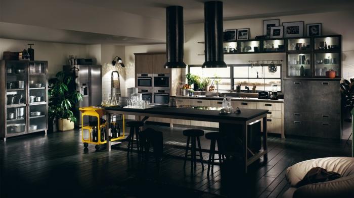 cuisine style industriel noir et gris accent jaune desserte sur roulettes